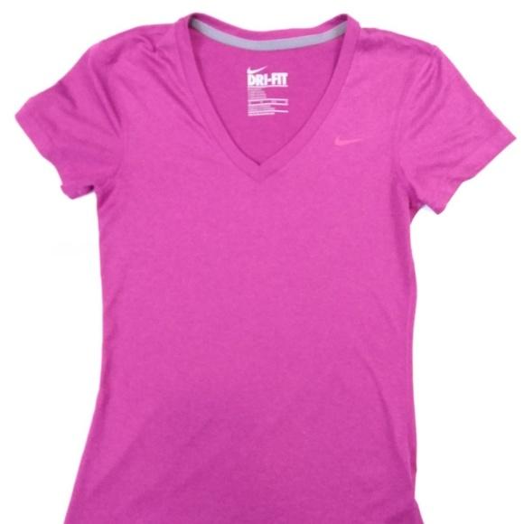 Women's Nike Dri Fit V Neck Shirt Pink XS